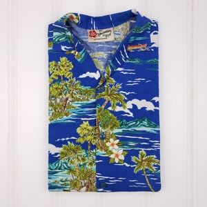 Hilo Hattie Blue Hawaiian Shirt Sz XL Cotton Mens